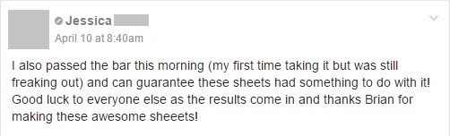 """I also passed the bar ... and can guarantee these sheets had something to do with it!"""