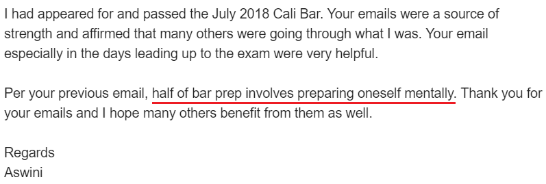 """Half of bar prep involves preparing oneself mentally."""