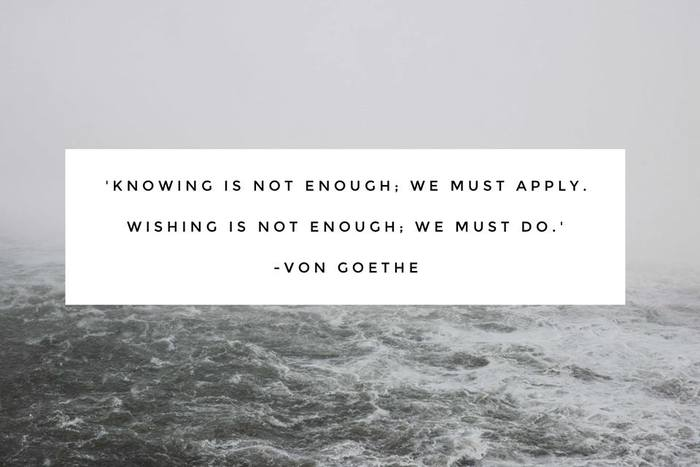 """Knowing is not enough; we must apply. Wishing is not enough; we must do."""