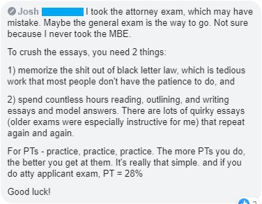 California Attorneys' Exam experience 7